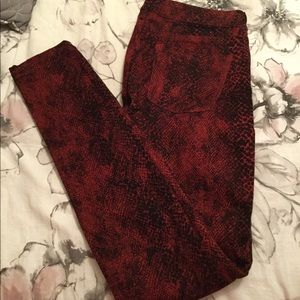 Express Red Snakeskin Printed Jeans🐍